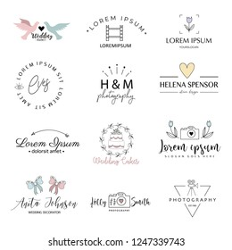 Photography logo set for small business owners, photographers and entrepreneurs. Logo templates. Premade logo collection