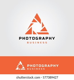 Photography Logo with Triangle Aperture