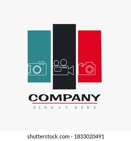 Photography logo vector company name with slogan template, camera logo creative trendy design.