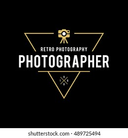 Photography Logos, Badges and Labels Design Elements set. Photo camera vintage style objects, retro vector illustration.