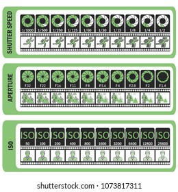 Photography manual. Camera's cheat sheet. ISO, shutter speed, aperture, frame frequency. Vector illustration.