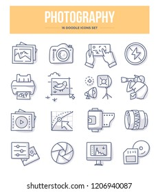 Photography, photo equipment, post-production and photo shooting doodle vector icons for website and printing materials