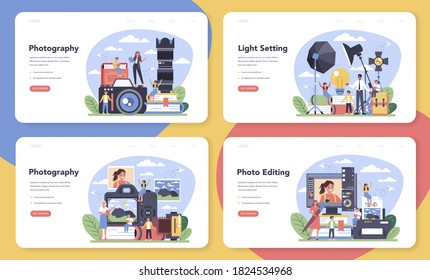 Photography school course web banner or landing page set. Professional photographer teaching kid of light setting and photo editing. Artistic hobby and photography class. Isolated vector illustration