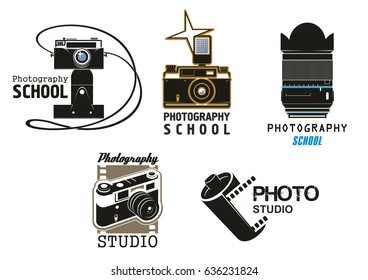 Photography school or professional photo studio vector icons set. Isolated symbols of digital and retro photocamera with vintage film cartridge, photographer lens and flash light design