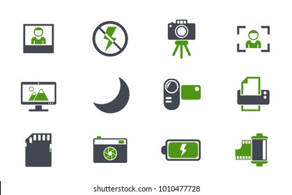 photography simple vector icons in two colors