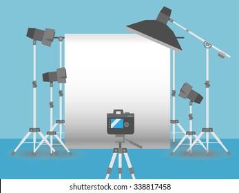 Photography studio equipment setup flat style graphics