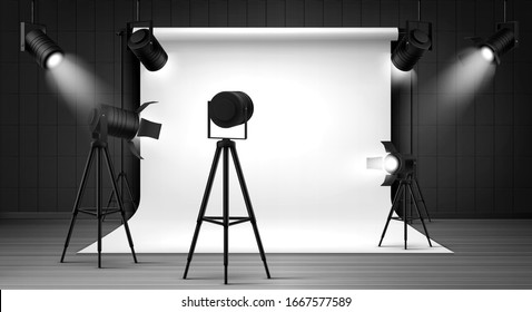 Photography studio interior with white paper background and spotlights. Vector realistic mockup of professional photo equipment in empty room, glowing floodlights on tripod and hanging