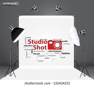 Photography studio with a light set up and white backdrop, with creative word cloud idea concept, Vector illustration template design