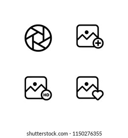 Photography theme. Set outline icon EPS 10 vector format. Professional pixel perfect black & white icons optimized for both large and small resolutions. Transparent background.
