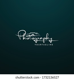 Photography Typography Signature Logo Vector