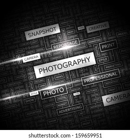 PHOTOGRAPHY. Word cloud illustration. Tag cloud concept collage. Vector illustration.