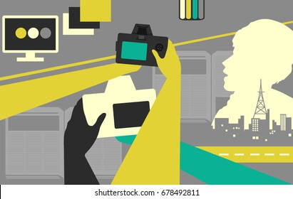 Photojournalism Illustration Featuring People Holding Digital Cameras With Monitors, Broadcast Towers, and Books Scattered Around