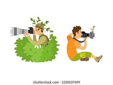 Photojournalist with camera gear, make zoom on shooting equipment, bird sitting on gadget. Paparazzi photographer isolated freelancer on job vector