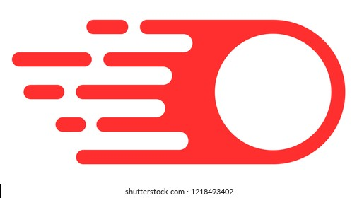 Photon flight icon with fast speed effect. Vector illustration designed for modern abstract with symbols of speed, rush, progress, energy. Fast photon flight movement symbol on a white background.