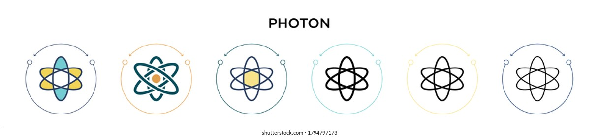 Photon icon in filled, thin line, outline and stroke style. Vector illustration of two colored and black photon vector icons designs can be used for mobile, ui, web