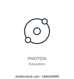 Photon icon. Thin linear photon outline icon isolated on white background from education collection. Line vector sign, symbol for web and mobile