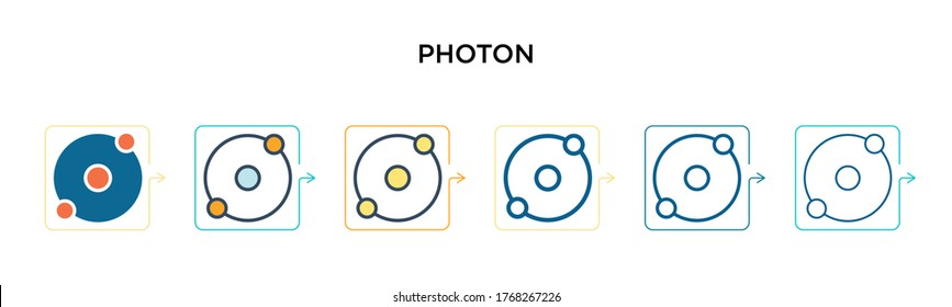 Photon vector icon in 6 different modern styles. Black, two colored photon icons designed in filled, outline, line and stroke style. Vector illustration can be used for web, mobile, ui