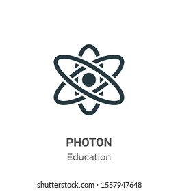 Photon vector icon on white background. Flat vector photon icon symbol sign from modern education collection for mobile concept and web apps design.