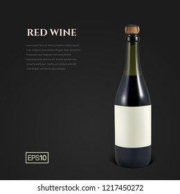 Photorealistic bottle of red sparkling wine on a black background. Mockup transparent bottle of wine. Template for presentation in a minimalist style.
