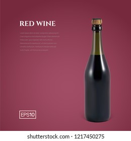 Photorealistic bottle of red sparkling wine on a burgundy background. Mockup transparent bottle of wine. Template for presentation in a minimalist style.