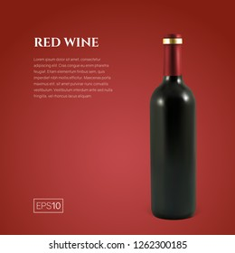 Photorealistic bottle of red wine on a red background. Mock up transparent bottle of wine. Template for product presentation or advertising in a minimalistic style.