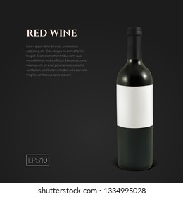 Photorealistic bottle of red wine on a black background. Mock up transparent bottle of wine. Template for product presentation or advertising in a minimalistic style.