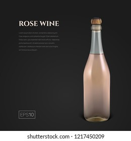 Photorealistic bottle of rose sparkling wine on a black background. Mockup transparent bottle of wine. Template for presentation in a minimalist style.
