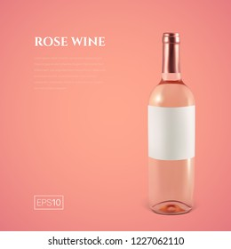 Photorealistic bottle of rose wine on a pink background. Mock up transparent bottle of wine. Template for presentation in a minimalist style.