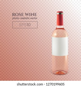 Photorealistic bottle of rose wine on a transparent background. Mock up transparent bottle of wine. This wine bottle can be placed on any background.