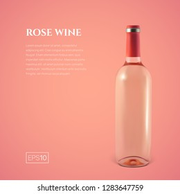 Photorealistic bottle of rose wine on a pink background. Mock up transparent bottle of wine. Template for product presentation or advertising in a minimalistic style.