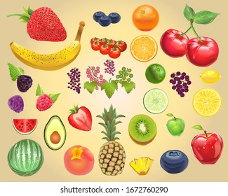Photo-Realistic Fruit Vector Kit  Isolated and arrangeable for print, web, apps, media