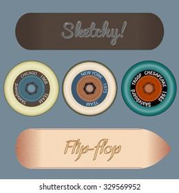 Photorealistic skateboard template eps 10 vector illustration