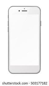 Photorealistic smart phone with blank screen isolated on white background. Vector illustration. EPS10.
