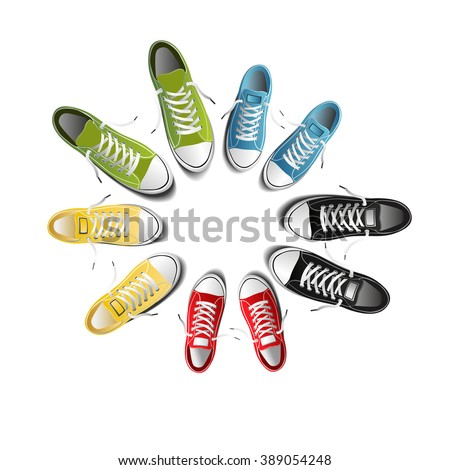 f029cf5a5f52 Photorealistic Sports Shoes Circle Sneakers Isolated Stock Vector ...