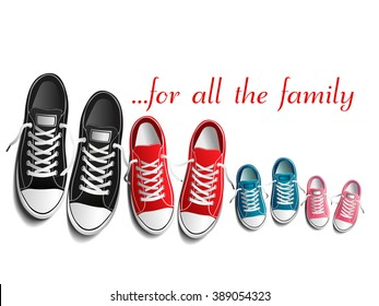 Photo-realistic sports shoes illustration, red, black, blue, pink sneakers isolated on white, family