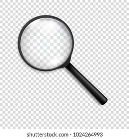 Photo-realistic vector 3d black magnifying glass or Loup icon closeup isolated on transparency grid background. Design template for graphics