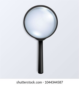 Photo-realistic vector 3d black magnifying glass or Loup icon closeup isolated on white background. Top view. Design template for graphics