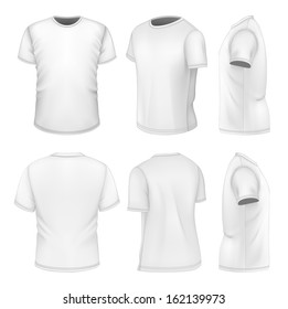 Photo-realistic vector illustration. All six views men's white short sleeve t-shirt design templates (front, back, half-turned and side views). . Illustration contains gradient mesh.