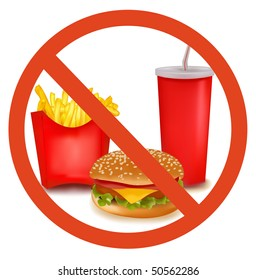 Photo-realistic vector illustration. Fast food danger label (colored).