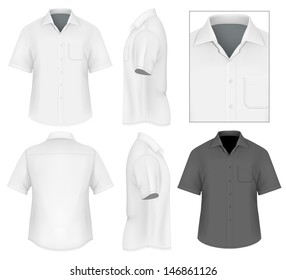 Photo-realistic vector illustration. Men's button down shirt design template (front view, back and side views). Illustration contains gradient mesh.