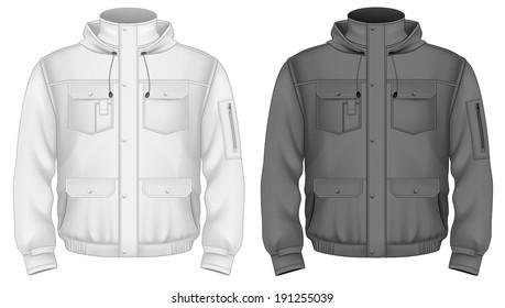 Basketball Full-Zip Hoodie Mockup - Side View Of Hooded Jacket - Freebify Mockups