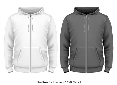 Photo-realistic vector illustration. Men's zip hoodie design template (front view).