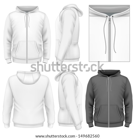 Photo Realistic Vector Illustration Mens Zip Hoodie Design Template Front View Back