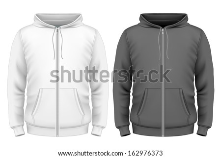 Photo Realistic Vector Illustration Mens Zip Hoodie Design Template Front View