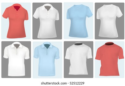 Photo-realistic vector illustration. Two polo shirts and two T-shirts (men and women).