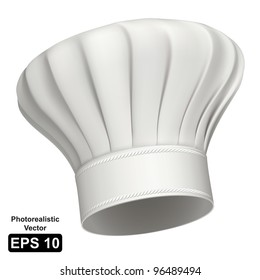 Photorealistic vector illustration of a white chef hat