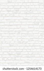 Photorealistic vector illustration of white old brick wall. Hand drawn, no tracing.