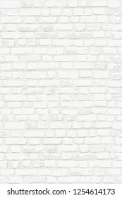 Photorealistic vertical vector illustration of white old brick wall. Hand drawn, no tracing.