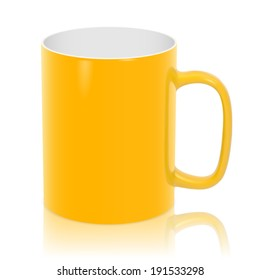 Photorealistic yellow cup - isolated on white background