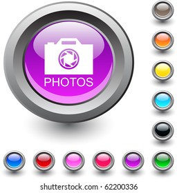 Photos metallic vibrant round icon.